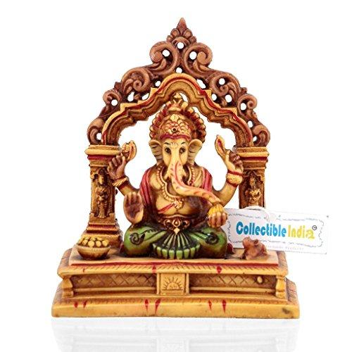 CraftVatika Marble Ganesha Statue Handpainted Hindu God Ganesh Murti Stone Sculpture Idol Diwali Gift
