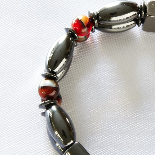 Sierra Magnetite Magnetic Anklet - Double Strand - Black with Red Accent Bead, 12IN