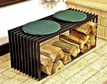 Kaminholzregal Für Wohnzimmer dandibo kaminholzständer bank d stil 100 cm kaminholzregal holzkorb