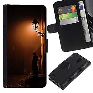 KingStore / Leather Etui en cuir / Samsung Galaxy S4 IV I9500 / Lámpara de luz Calle del guijarro;