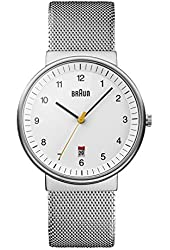 Braun Men's BN0032WHSLMHG Classic Mesh Analog Display Japanese Quartz Silver Watch