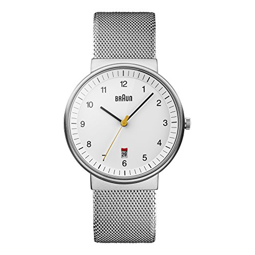 (Braun Men's BN0032WHSLMHG Classic Mesh Analog Display Japanese Quartz Silver Watch )
