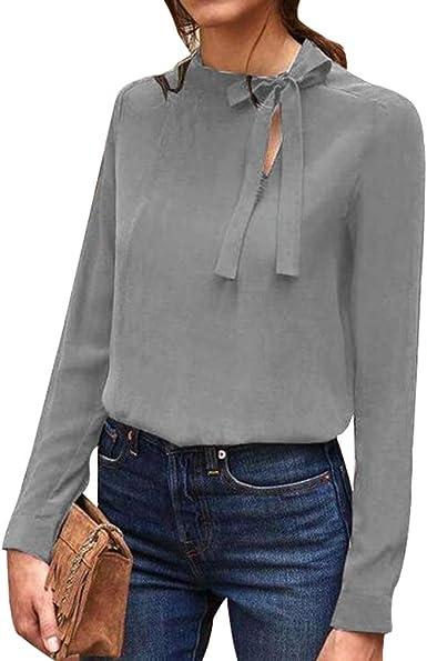 Manga Larga Camisetas para Mujer Elegante Color Sólido Oficina OL Casual Blusa Moda Blusa Camisa Streetwear para Primavera y Otoño Tallas Grandes Negro/Gris/Rojo Vino: Amazon.es: Ropa y accesorios
