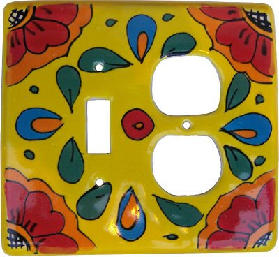 Canary Talavera Toggle-Outlet Switch Plate by Fine Crafts & Imports