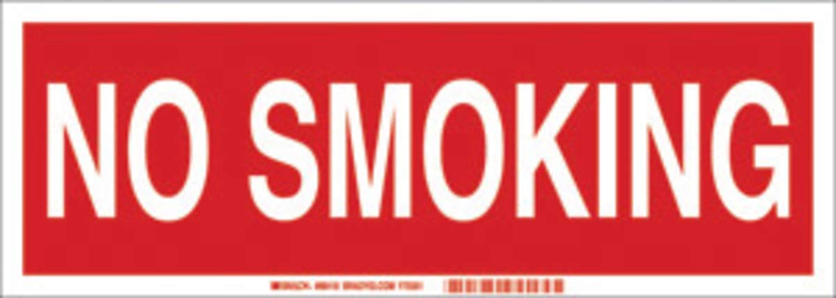 Brady 5'' X 14'' X 1/10'' White On Red .0984'' B-120 Fiberglass No Smoking Sign''NO SMOKING''