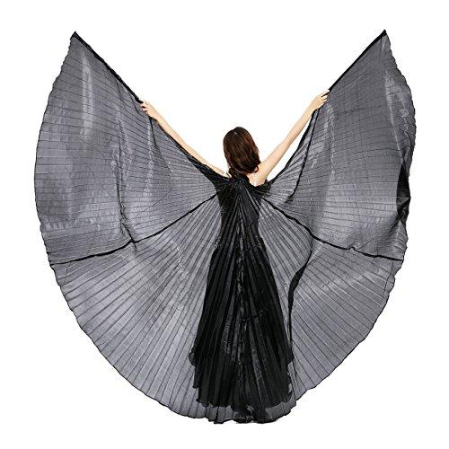 Dance Fairy Alas de Isis Danza del Vientre Trajes de la Etapa / Props con palos / Barras,Blanco Negro