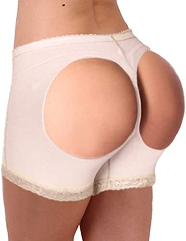 Beige Women Slim Body Hip Butt Lifter Booster Shaper Underwear Panty Shorts L XL