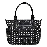 JJ Cole Caprice Diaper Bag, Black with Cream Pattern