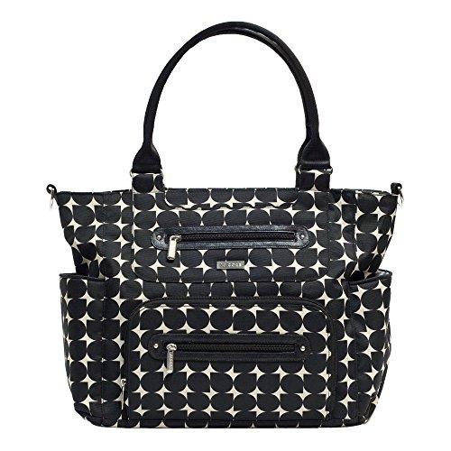 (JJ Cole Caprice Diaper Bag, Black with Cream Pattern )