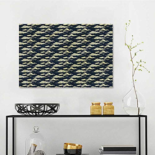 (one1love Antique Modern Decorative Painting Eastern Scroll Cloudy Sky Contemporary Abstract Art W15 xL23)