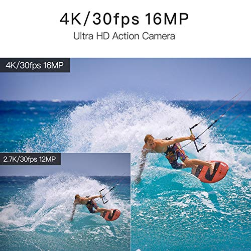 WiMiUS 4K Action Camera 2 Inch Touch Screen 16MP WiFi Sports Camera 30M Underwater Waterproof Camcorder 170 Degree Wide Angle Lens with 2 Rechargeable 1050mAh Batteries and Mounting Accessories by WiMiUS (Image #3)