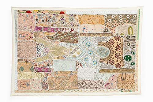 HANDICRAFT-PALACE Vintage Wall Tapestry Cotton Hand Beads Embroidered Patchwork Ethnic Hanging 60