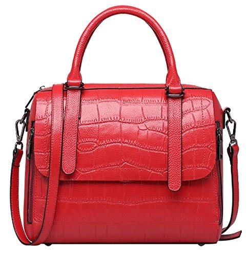 portés Femmes Nouveau Rouge SAIERLONG Sacs Vache De main à Cuir épaule Sacs Véritable Gris Gros qpx5wPCxS
