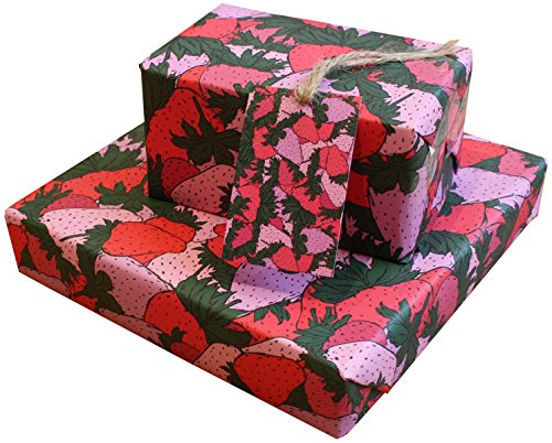 - Strawberries Eco Friendly Recycled Birthday Gift Wrap Wrapping Paper