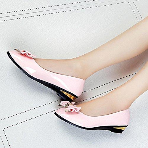 femmes chaussures cuir en les ® plat Transer travail Slip Bowknot occasionnel Mode Rose sur de Lady PEwwaSq
