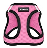 Voyager All Weather No Pull Step-in Mesh Dog Harness Padded Vest - Pink Base, Small (Chest: 14.5' - 17')