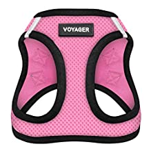 "Voyager Step-In Air Dog Harness - All Weather Mesh, Step In Vest Harness for Small and Medium Dogs by Best Pet Supplies - Pink Base, Large (Chest: 18"" - 21"")"