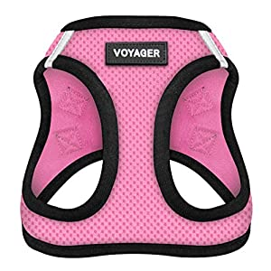 Voyager All Weather No Pull Step-in Mesh Dog Harness with Padded Vest, Best Pet Supplies, Medium, Pink Base