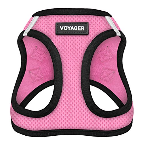 "Voyager Step-In Air Dog Harness - All Weather Mesh, Step In Vest Harness for Small and Medium Dogs by Best Pet Supplies - Pink Base, Small (Chest: 14.5"" - 17"")"