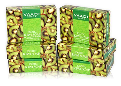 (Kiwi Bar Soap with Green Apple Extract - Handmade Herbal Soap (Aromatherapy) with 100% Pure Essential Oils - ALL Natural - Extra Gentle Cleansing - Each 2.65 Ounces - Pack of 6 (16 Ounces) - Vaadi Herbals )