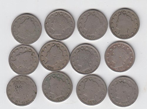 12 Liberty V Nickels Mixed Full Readable Dates- 5 Cents-, used for sale  Delivered anywhere in USA