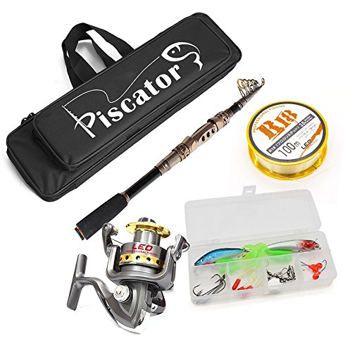 Fishing Full Kit, Carbon Telescopic Rod+ LE3000 Fishing Reel +2.5 Fishing Line + Lure baits&hooks box+ 50cm/19.7in Fishing Bag, Spinning Rod and Reel Combos, Sea Rod Kit for Saltwater and Freshwater