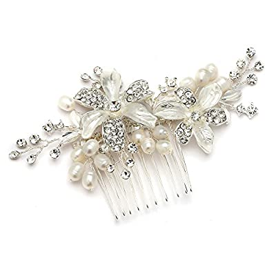 Mariell Bridal Comb with Freshwater Pearl, Hand-Painted Enamel Leaves and Austrian Crystals. Stunning!