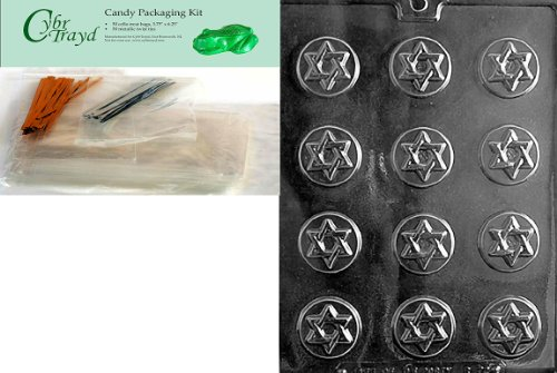 Star Of David Candy Mold (Cybrtrayd Star of David Mints Chocolate Candy Mold with Chocolate Packaging Bundle, Includes 50 Cello Bags, 50 Gold/Silver Twist Ties and Exclusive Cybrtrayd Copyrighted Chocolate Molding Instructions)