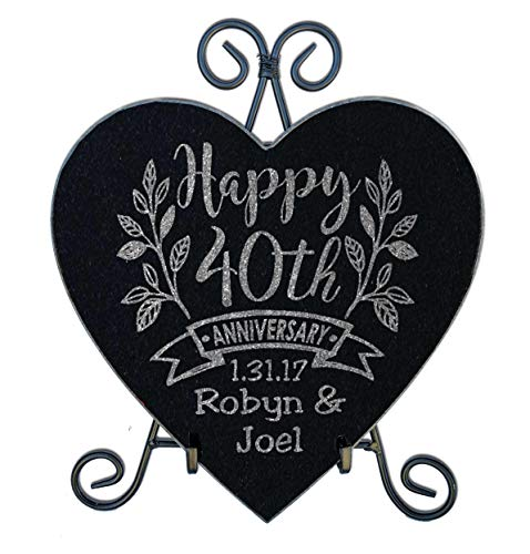 Happy Anniversary Celebratory 10x10 Heart Stone Plaque Couples 40th 50th 25th Anniversy Party Gift WITH STAND Wife Husband First Anniversary Married Stone Sign - Garden Anniversary