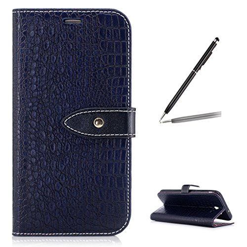Trumpshop Smartphone Protective Case for Samsung Galaxy J7 Sky Pro (TracFone) SM-J727 [Deep Blue] Crocodile Skin Pattern Premium PU Leather Flip Wallet Cover Bookstyle Stand Feature Shockproof