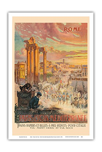 Pacifica Island Art Rome - Trains for Italy - Paris-Lyon-Mediterrannee (PLM), French Railroad - Vintage Railroad Travel Poster by Carlo Cussetti c.1900 - Master Art Print - 12in x 18in