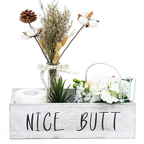 TIMEYARD Nice Butt Bathroom Decor Box - Toilet Paper Holder - Farmhouse Rustic Wood Crate Home Decor (Bathroom Signs Wooden)