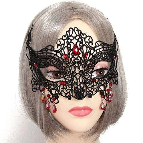 Halloween Masquerade Lace Mask with Red Diamond Cosplay Eye Patch Mask-The Queen of Vampire (Vampire Queen Halloween Makeup)