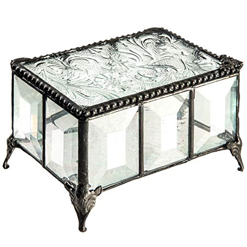 J Devlin Box 762 Vintage Clear Beveled Glass Box Chest Decorative Keepsake Trinket Box Jewelry Display ()