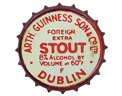 Guinness Sign - Guinness Vintage Aluminum Bottle Cap Sign (Red) - Metal Wall Decor