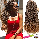 Goddess Faux Locs Crochet Hair Wavy with Curly Ends 20 Inch 6Packs/Lot Crochet Braids Faux Locs Dreadlocks Brown Blonde Synthetic Braiding Twist Hair Extensions (T1B/27#)