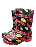 TQ Homebase Boys Rain Boots in Fire Truck Pattern with Fully Waterproof at Sizes for Toddlers and Kids 9 M
