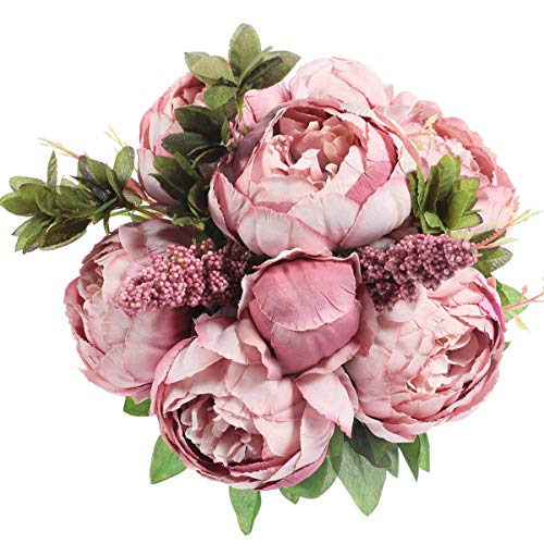Veryhome Artificial Silk Peony Bouquets Wedding Home Decoration,Pack of 1 (Cameo Brown)