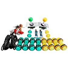 Easyget LED Arcade DIY Parts 2x Zero Delay USB Encoder + 2x 8 Way Joystick + 20x LED Illuminated Push Buttons for Mame Jamma Arcade Project Yellow + Green Kit Sets