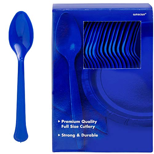 Light Blue Spoon - Amscan 43601.105 Plastic Spoons, One Size, Bright Royal Blue