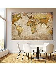 Murimage Fotobehang wereldkaart 183 x 127 cm Landkaart Vintage historische Shabby oude Worldmap Landen behang inclusief behanglijm