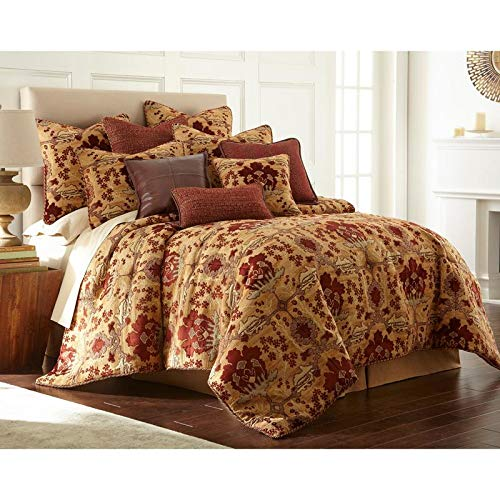 3 Piece Dakota Brown Red Luxury Queen Comforter Set, Tan Textured Medallion Damask Chenille Jacquard Fabric Burgundy Rust Woven Extra Warmth Gorgeous Sophisticated Twisted Border Cord Floral