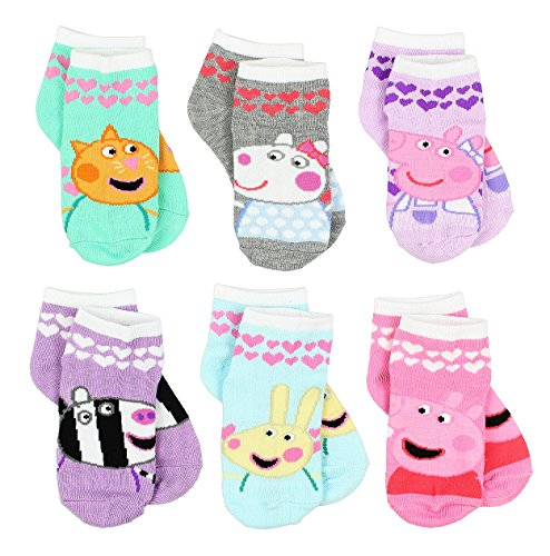 Peppa Pig Girls 6 Pack Socks  2 4 Toddler  Shoe  4 7   Friends Quarter Multi