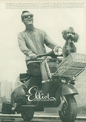- Cable Italy! Elliot Sweaters for Men ad 1958 Vespa motorscooter & poodle