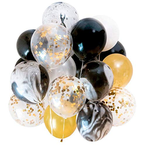 Modern Gold and Black Agate Mix Latex Party Decoration Marble Balloon 40pc Thick 12 Inch, Wedding, Birthday Party, Photobooth, Backdrop, Balloon Garland Arch Kit ()