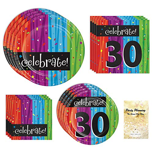 Combined Brands 30th Birthday Party Supplies, Milestone Celebrations Design, Bundle of 4 Items: Dinner Plates, Dessert Plates, Lunch Napkins and Beverage Napkins ()