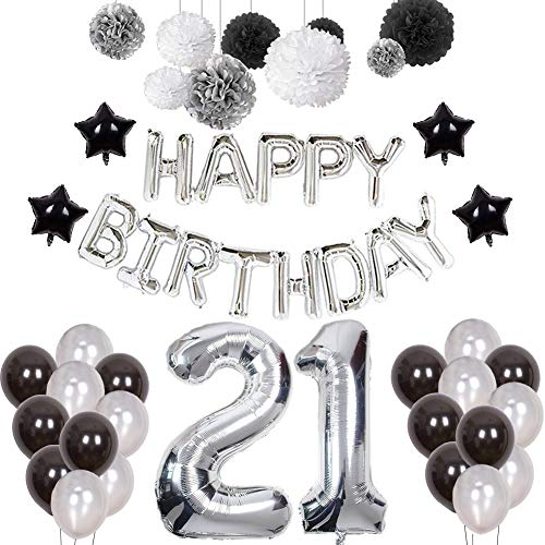 21st Birthday Decorations, Puchod Happy Birthday Decoration Banner Number 21 Foil Ballon Party Decor Set with Tissue Paper Pom Pom Balls Black Silver for Boy -