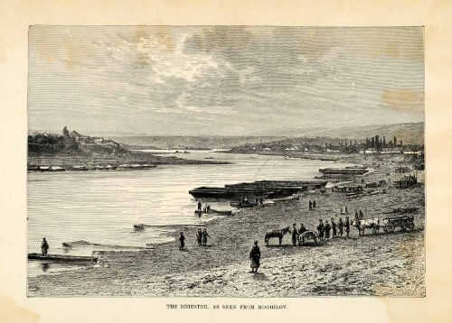 1882 Wood Engraving Art Dniester River Moghilov Belarus Coastal Landscape Boats - Original Engraving by...