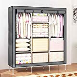 House of Quirk 66inch Portable Wardrobe stainless steel Cloth Closet Organizer Storage with Cover and Clothes Rods Durable Sturdy shelves(Grey)