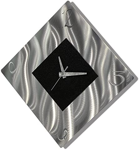 Amazon Com Black Metal Decorative Wall Clock Abstract Modern Clock For Living Room Or Kitchen Jon Allen Metal Art Prediction Clock Kitchen Dining